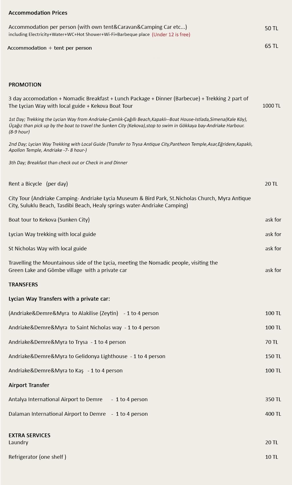 andriake camping fiyat listesi